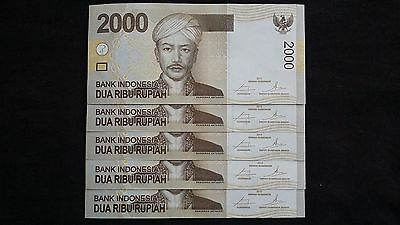 INDONESIA 2000 Rupiah 2015 x 5  P148f? - run of 5 UNC Banknotes