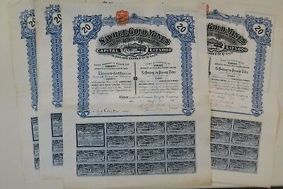 Sawhee Gold Mines Limited Titre 20 Actions De 5 Schillings 1911 X 5 Actions