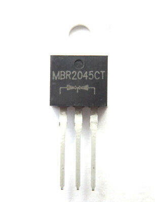 MBR2045CT = STPS2045CT Diode Schottky 45V 20A 3-Pin configured 2x10Amp 45v  x1pc