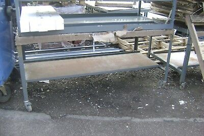 TABLE/BENCH  STEEL with wheels   STEEL TOPS, WORKSHOP/WHAREHOUSE