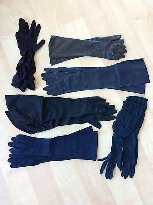 LOT of 6 Pair Vintage Ladies GLOVES:  Longer Lengths; Black, Navy & Brown