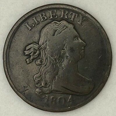 Raw 1804 Draped Bust 1/2C in Fine plain 4 Stemless Early US Copper Half Cent ma