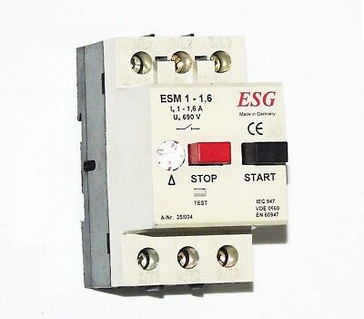 ESM 1-1,6 3 Pole Setable Motor protection Overload Circuit Breaker DIN Mount