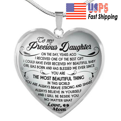 ff661eb6d8a To My Daughter Necklace Heart From Mom - I love My Mom Birthday Necklace  Gift