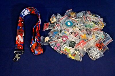 Disney World Pin Trading Lot Lanyard Starter Spiderman Red White & Blue 25 Pins
