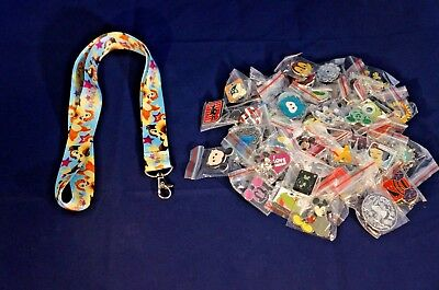 Disney World Pin Trading Lot Lanyard Starter Chip and Dale Cute Stars & 25 Pins