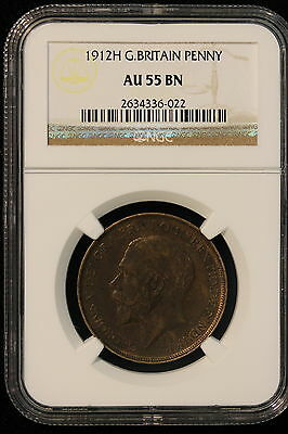 1912 H Great Britain. Penny. NGC Graded AU-55 BN.