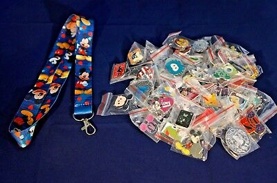 Disney World 25 Pin Trading Lot Lanyard Starter Set Blue Mickey Mouse w/ Hearts