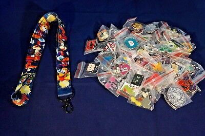 Disney World 25 Pin Trading Lot Lanyard Starter Set Mickey Buzz Woody Goofy Blue