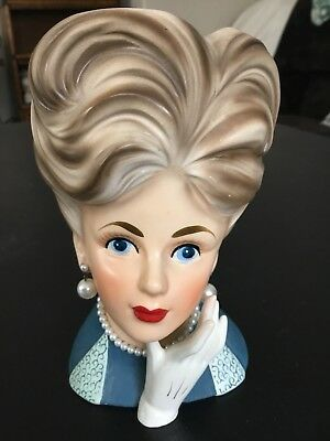 """Hard to Find Vintage Relpo # K1633 Lady Head Vase, 7-1/2"""" tall  Excellent Cond."""