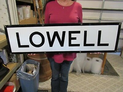 VINTAGE ORIGINAL 1920's PORCELAIN LOWELL RAILROAD SIGN LOWELL MI. OR LOWELL MASS