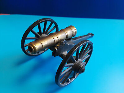 Old Vtg Antique Collectible Cast Iron And Brass Military Toy Cannon