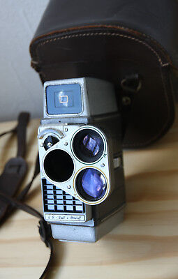 Vintage 8mm Bell & Howell Autoset Turret Cine Camera with Case.