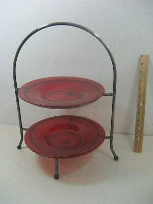 Vintage Lenox Metal Stand Two Tier Ruby Red Scalloped Serving Display Tray