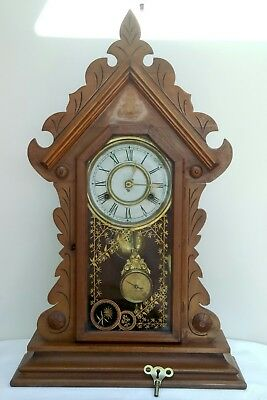 """ANTIQUE c.1880's JEROME AND CO. STRIKING CLOCK WORKING 25""""X15.5"""" X5"""" MAGNIFICANT"""