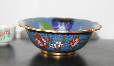 An Excellent C20th Chinese Cloisonne Scallop Bowl - Prunus Peony Bird Rock