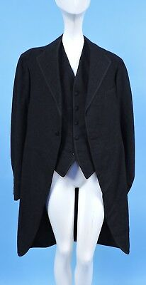 Victorian Turn Of The Century Men's Charcoal Gray Swallowtail Coat W Vest