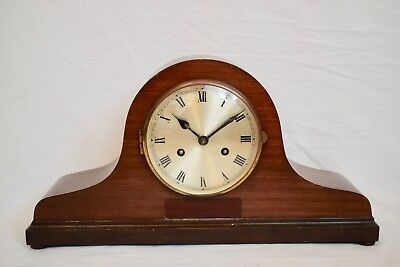 VINTAGE 1930s GERMAN MAHOGANY CASED TWO TRAIN STRIKING NAPOLEON HAT MANTEL CLOCK