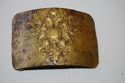 Vintage Brass Belt Buckle Russian Imperial Army Infantry Double Headed Eagle