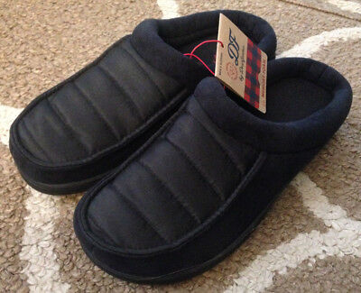 dd6420259da Mens Small 7 8 Black Quilted Dearfoams Memory Foam Slippers House Shoes New