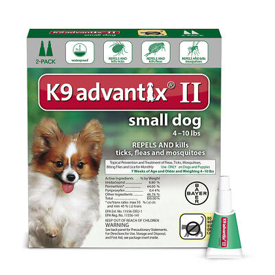 K9 Advantix II  Flea & Tick Treatment For Small Dogs 4-10 lb's 2 Month Supply