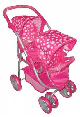 Melogo Toys - Twin Reverse Pram for Childrens Doll - Pink