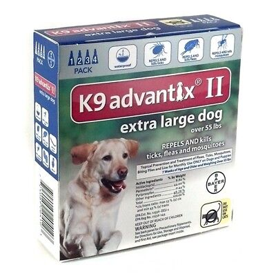 ADVANTIX ii For Extra Large Dog over 55 Lbs 4 Pk / 4 Month Supply Fresh