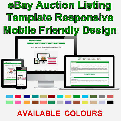 Green eBay Auction Listing Template HTML Responsive Mobile 2018