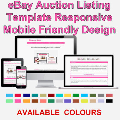 Pink eBay Auction Listing Template HTML Responsive Mobile 2018