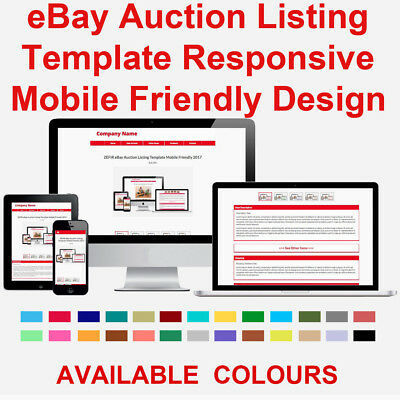 Red eBay Auction Listing Template HTML Responsive Mobile 2018
