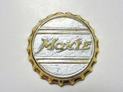 "Moxie Gold Tone Bottlecap 1"" Charm Pendant Vintage As is for collector value"