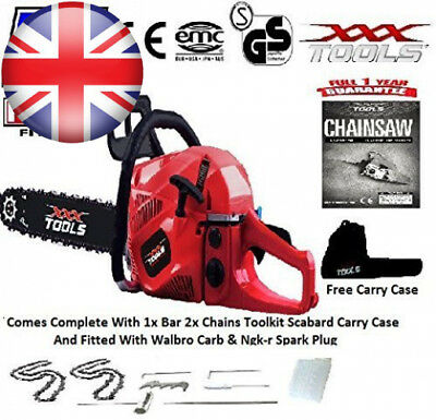 """New 2018 62Cc Petrol Chainsaw 20"""" Bar 2 Chains Walbro Carb Ngk Carry Case..."""