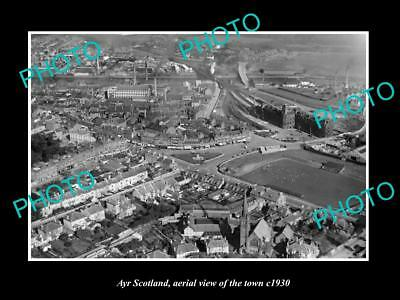 OLD LARGE HISTORIC PHOTO OF AYR SCOTLAND, AERIAL VIEW OF THE TOWN c1930 1