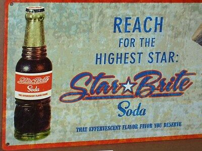 STAR BRITE SODA SIGN ---- Shows PRETTY GIRL .... Drinking from OLD GLASS BOTTLE
