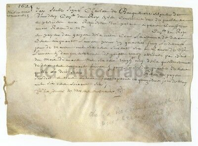 400 Year Old Early French Document (Circa 1600s) - Original Vellum Doc. - France
