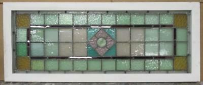 """LARGE OLDENGLISH LEADED STAINED GLASS WINDOW Squares/Diamond Transom 43"""" x 17.5"""""""