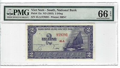 P-12a 1955 2 Dong, Viet Nam- South National Bank, PMG 66EPQ GEM +