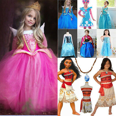 Girls Princess Dress Aurora Anna/Elsa Moana Frozen Costume Party Fancy Dress Lot