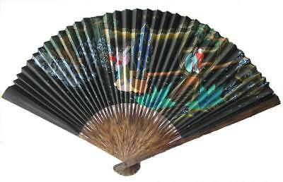 VINTAGE Asian Ornate Fan Black Gold Perfect Condition always kept in Cabinet