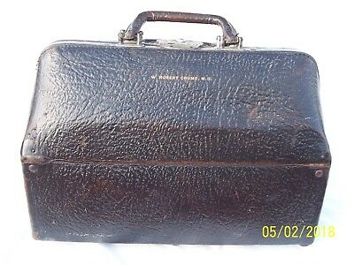 vintage leather Dr. bag black dual interior compartments