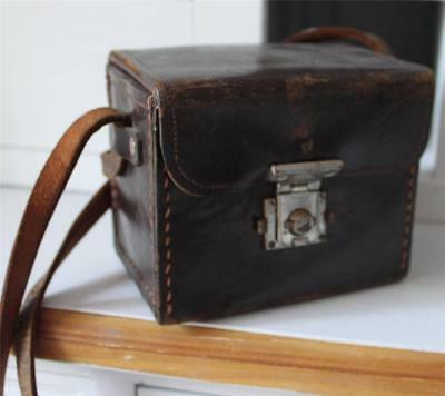 ANTIQUE Leather Brownie Camera Case Handbag Travel Bag Market Coin Purse ENGLAND