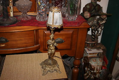 Antique Spelter Spanish Figural Table Lamp-Decorative Art Table Lamp W/Shade