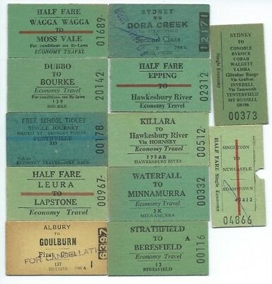 12 Different NSW Country Single Tickets inc Georges Plains, Bourke, Beresfield