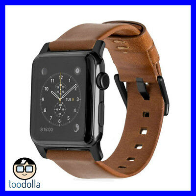 NOMAD Horween Genuine Leather Strap band, Apple Watch 38/40mm Rustic Brown/Black