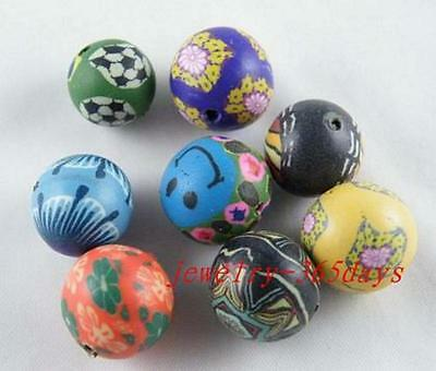 30pcs Clay Mixed Spacer Beads 12-16mm