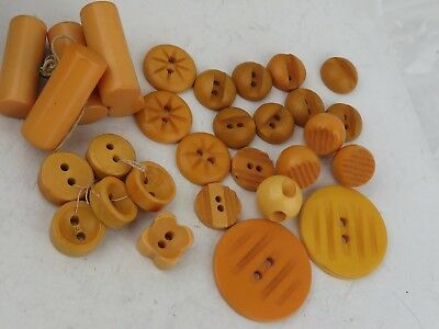 Estate Antique Yellow Bakelite lot of 30 Sewing Buttons