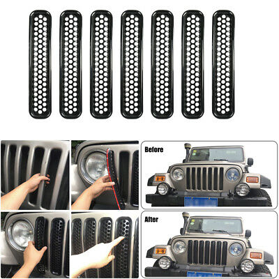 Gloss Black Front Mesh Grill Guard Grilles Inserts Cover For Jeep Wrangler TJ #B