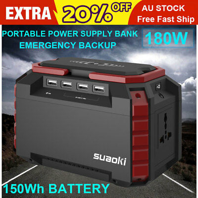 Portable Power Station 150Wh Quiet Gas Free Solar Generator for Travel Emergency