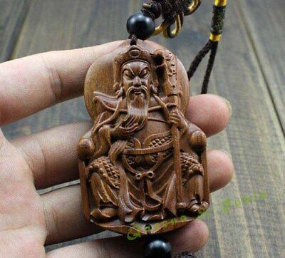 Chinese Knot Wood Carving Guan Gong Yu Sword Buddha Car Pendant Amulet 关公