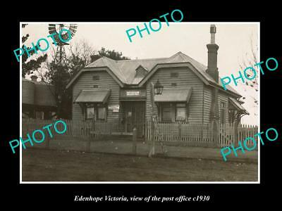 Old Large Historic Photo Of Edenhope Victoria, View Of The Post Office 1930